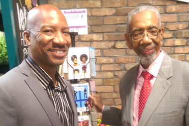 Otis Richardson (left) and U.S. Rep. Bobby Rush at the Whole Foods grand opening in Englewood. LavenderPop's Greeting Cards are in Englewood Whole Foods.
