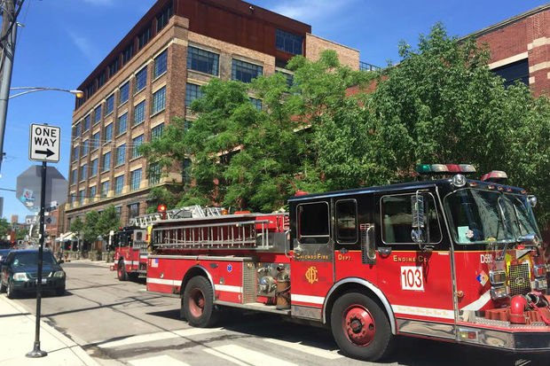 Fire crews responded to a fire at Soho House Friday afternoon in the West Loop.