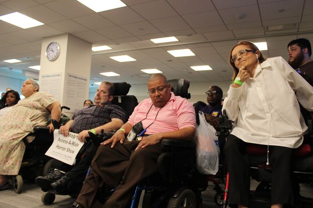 Access-a-Ride users turned out in droves at an MTA board meeting Wednesday to complain about service.