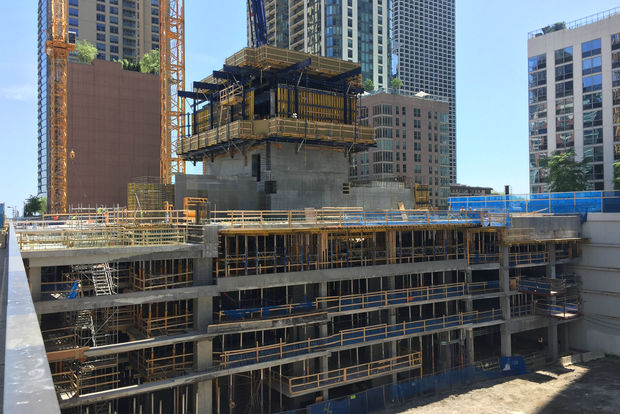 The developer building the super-tall Vista Tower off Wacker Drive plans to build three towers and another project nearby. Shown is Vista Tower under construction last month.
