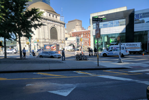 The cyclist and cab collided at the intersection with the Bowery, police said.