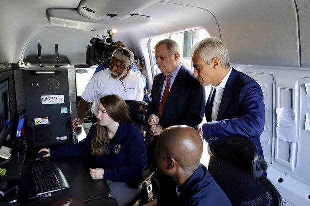 Mayor Rahm Emanuel and U.S. Sen. Dick Durbin a high-tech van in Chicago that can immediately test guns and shell casings at crime scenes.