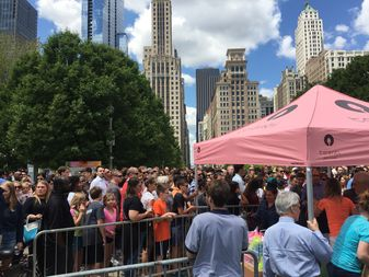 Talenti's gelato giveaways have drawn long lines this summer in Millennium Park.