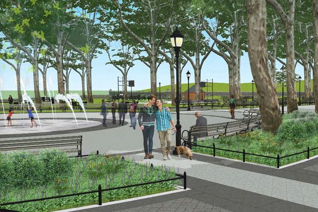 A renovation of the Myrtle Avenue side of Fort Greene Park would fix the sidewalks, drainage and entrance of the park's northwest corner promenade, seen here in renderings from the Parks Department.