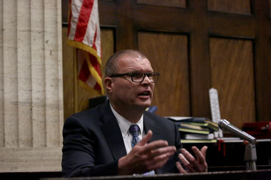 Former Chicago police detective David March testifies at a pretrial hearing for Officer Jason Van Dyke on Wednesday. March was among three officers indicted on charges of conspiracy, obstruction and misconduct.