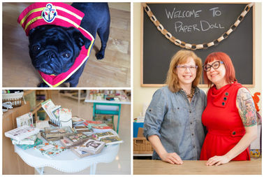 Sisters Kelly and Stacy Swett as well as shop dog Rhoda at Paper Doll.