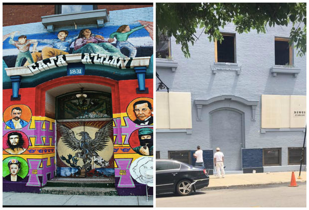 The Casa Aztlan mural, created in the 1970s by artist Ray Patlan, was painted over by a developer in Pilsen earlier this month.