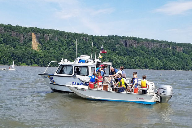 The Interstate Parkway Police rescued 10 children who fell into the Hudson River after a boat they were on capsized Thursday morning, June 29, 2017.