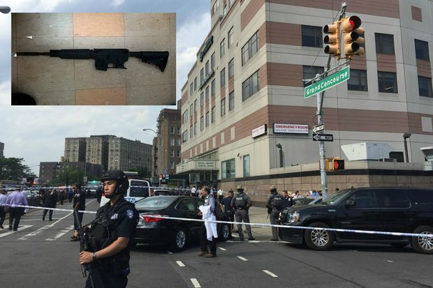 A former hospital employee armed with an assault rifle (inset) fatally shot a doctor and wounded several others before killing himself Friday at Bronx-Lebanon Hospital, police said.