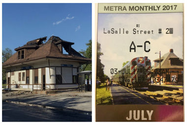 Metra's monthly pass for July features the 115th Street station in Morgan Park. The station was severely damaged by fire May 28 and was leveled Friday.