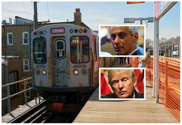Mayor Rahm Emanuel lashed out at President Donald Trump's plan to eliminate federal funding for new transit projects.