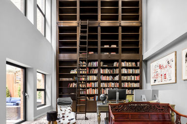 The library/office in a 3,480-square-foot four-bedroom townhouse in a boutique condo at 55 Vestry St. in Tribeca, listed by Douglas Elliman for $7.285 million.