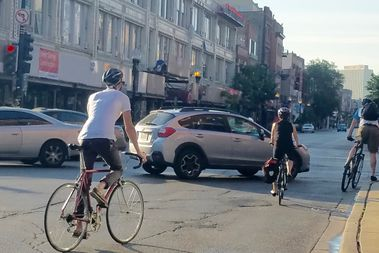 Cyclists at Milwaukee and Damen in Wicker Park