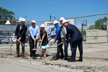 Culver's CEO Joe Koss (from left), Chicago franchise owner Guy Hollis, Six Corners Association director Kelli Wefenstette, restaurant operator Danny Ehle, 45th Ward Ald. John Arena and property owner Charles Cui break ground Thursday on the drive-thru restaurant at 4939 W. Irving Park Road.