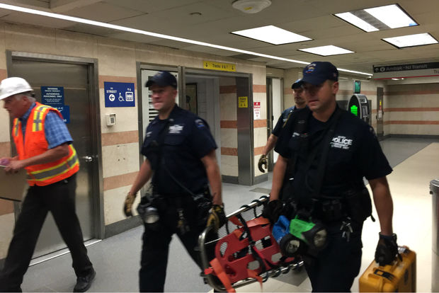 NYPD officials entering Penn Station after an NJ Transit derailed on Thursday, July 6, 2017.