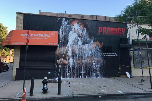 A mural of late rapper Prodigy after it was defaced in Queensbridge Friday night. Artists spent hours restoring the work, only to have it vandalized again on Sunday night or Monday morning.