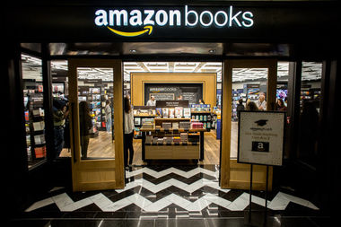 The Amazon bookstore located in the Time Warner Center features 3,000 titles and cashless paying.