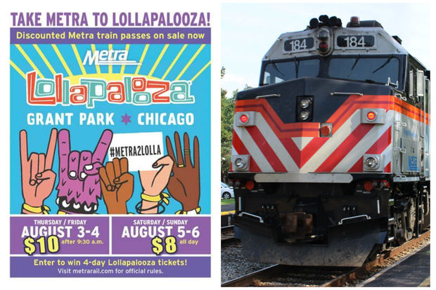 Metra is offering unlimited ride train passes to Lollapalooza. The music festival runs from Aug. 3-6 in Grant Park.