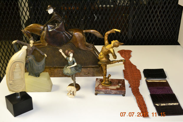 Some of the items recovered at Ro Gallery made with elephant ivory, according to the Queens DA's office.