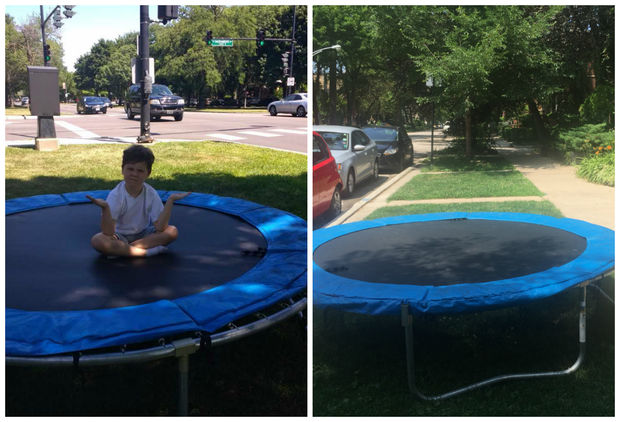 Allison Vanek and her 7-year-old son, Alex (left) wondered where the mysterious trampoline came from when they visited Saturday. According to neighbors on social media, the owners are putting it in public places for all neighbors to enjoy.