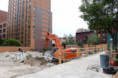 XIN Development International's construction site at 615 10th Ave., between West 44th and 45th streets.