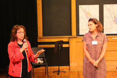 Ald. Michele Smith raises issues over parkland in the North Branch Industrial Corridor with Abby Monroe of the Department of Planning and Development.