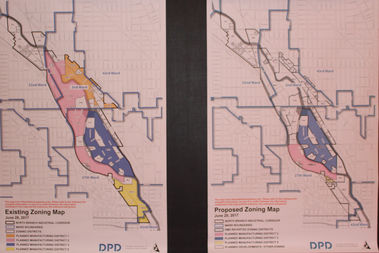 Side-by-side maps show how Primary Manufacturing District zoning would be largely removed north and south of Goose Island under an Emanuel administration proposal.