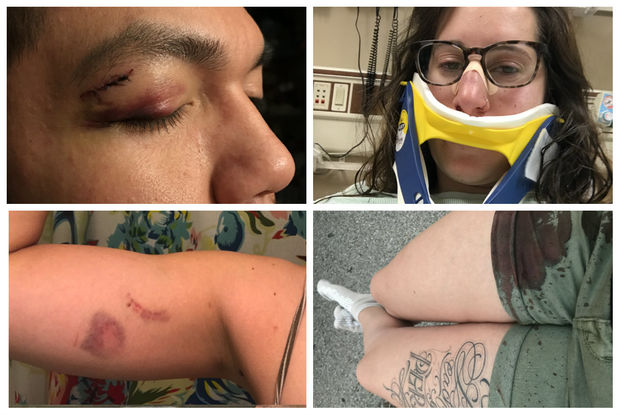 A woman and two of her male friends allege that they were attacked in front of Chris' North Land Tavern on June 17.