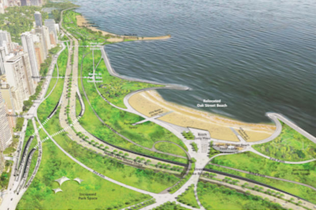 An ambitious plan for Lake Shore Drive would straighten out the S-curve and beef up two of Chicago's most popular beaches.