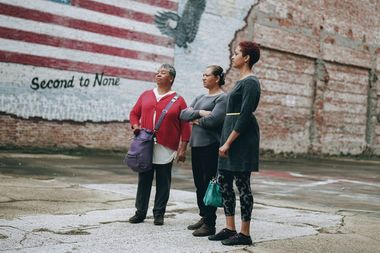 "Shirah Dedman, Phoebe Dedman and Luz Myles visit Shreveport, Louisiana, where their relative Thomas Miles, Sr., was lynched in 1912. Their story is one of many included in the upcoming exhibit ""The Legacy of Lynching: Confronting Racial Terror in America""."
