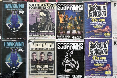 Some posters advertising rock bands can be seen in this file photo.