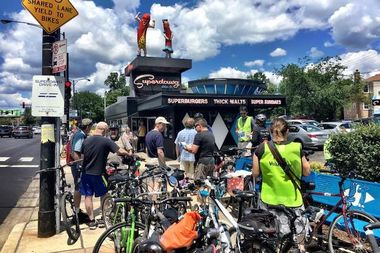 Riders stopped at Superdawg in Gladstone Park on their way from Forest Glen to Niles during the alliance's Inaugural Ride last month.
