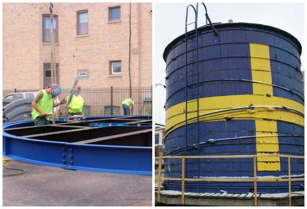 Work began to replace the old beloved Andersonville water tower (right) Monday in the Swedish American Museum parking lot at Foster and Ashland Avenues.