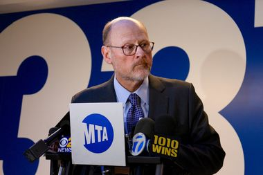 MTA Chair Joe Lhota speaks to reporters at Penn Station on Tuesday.