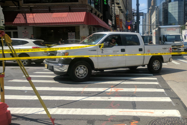 The woman was hit at Sixth Avenue and West 36th Street, officials said.