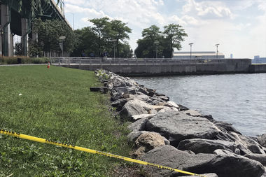 A leg was found floating near 66th Street in the Hudson River Wednesday, police said.