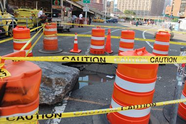 A massive sinkhole at East 23rd Street and the FDR Drive has added more obstacles to the waterfront greenway.