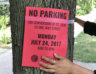 On Friday, 35th Ward staffers posted signs along the street and left flyers at every household, declaring St. Louis Avenue is a one-way street again.