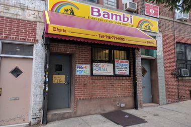 A caretaker at the Bambi Day Care Center in Crown Heights has been arrested for sitting on a 3-year-old girl at the facility last week.