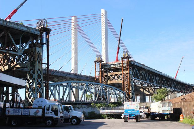 The central section of the Kosciuszko Bridge was lowered earlier this summer.