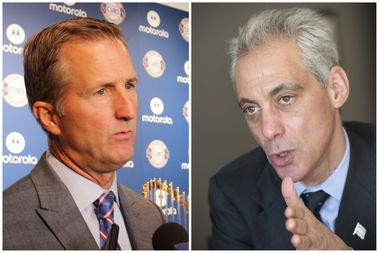 Crane Kenney [left] and Mayor Rahm Emanuel have been trading barbs through public comments over the number of night games allowed at Wrigley Field.