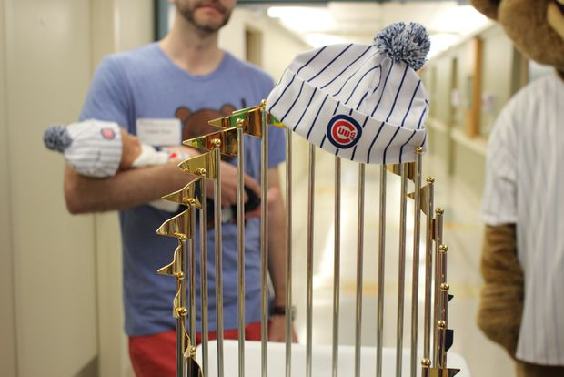 5541ccd8b The Cubs brought their World Series championship trophy to Advocate  Illinois Masonic Medical Center on Wednesday to celebrate babies born nine  months after ...