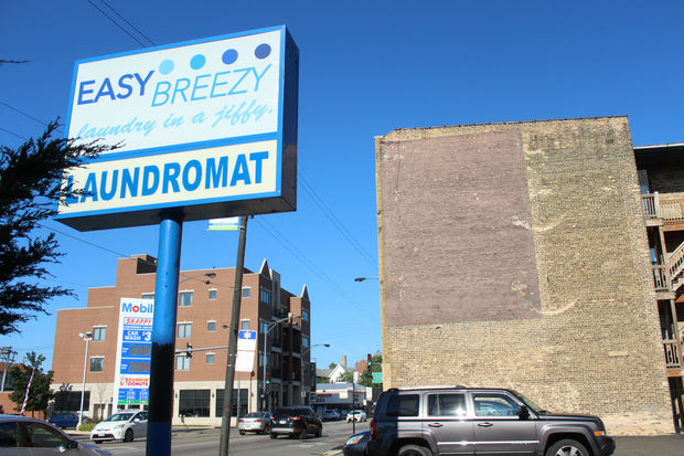 A wall next to the Easy Breezy Laundromat has been chosen for Lincoln Square's first PaintWorks mural, a new effort to draw attention to areas outside the neighborhood's