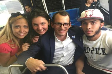 Pictured from left to right: Jessica Perez, Sierra Ewert, Wade H. McMullen Jr. and Pedro Hernandez, after he was released from Rikers Island on bail.