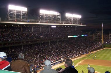 Lights at Wrigley Field during a night game in 2008.