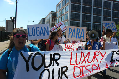 More than 50 youth leaders with the neighborhood group Logan Square Neighborhood Association protested the developer's proposedchanges late Friday afternoon at the site of the development at Diversey Avenue and Pulaski Road.