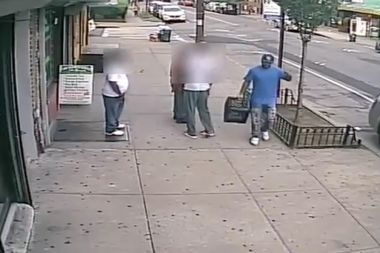 Police need help in finding this man who they say stole a milk crate, then used it to hit a bodega worker.