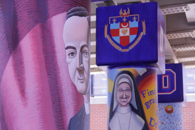 The Rev. Francis Xavier McCabe, DePaul's second president, and Sister Mary Teresita Frawley, one of the first women to graduate from the university, are among those celebrated on the murals.