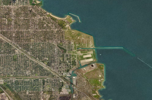 The vacant South Works site runs from 79th Street to the Calumet River along the lakefront.