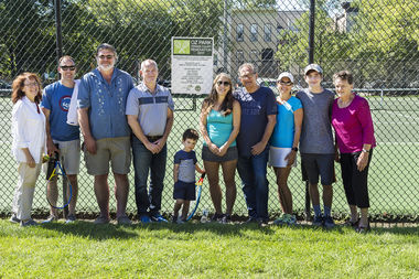 Ald. Michele Smith (left) led donors on the resurfaced tennis courts, organized by Oz Park Advisory Council President Judy Johanson (right).